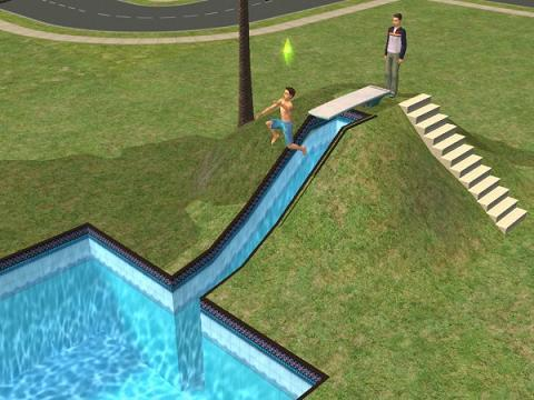tutoriel comment cr er un tobogan pour sa piscine les sims. Black Bedroom Furniture Sets. Home Design Ideas